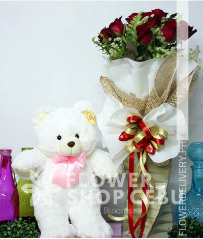 1 Dozen Red Roses with Bear