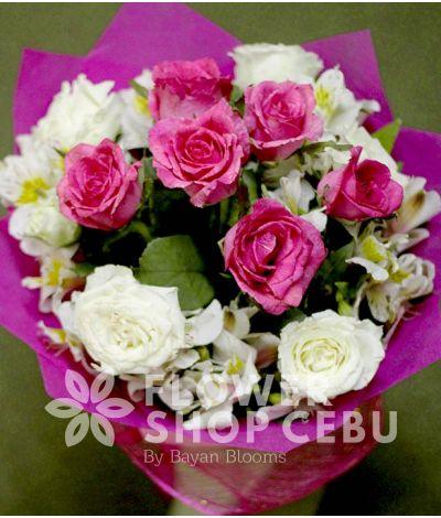 1 Dozen Pink and White Roses