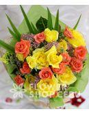 1 Dozen Yellow and 1 Dozen Peach Roses (Round Bouquet)