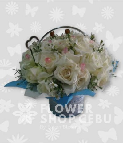 Basket of 2 Dozen White Roses