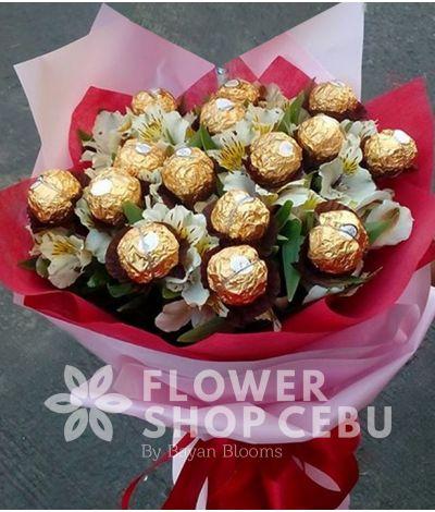 Ferrero with Alstroemeria