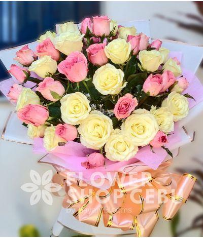 2 Dozen Pink and 2 Dozen White Roses