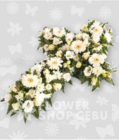 Casket Cross White Flowers